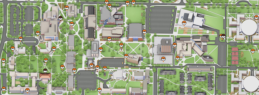 Bowlign Green campus interactive Pokemon Go map