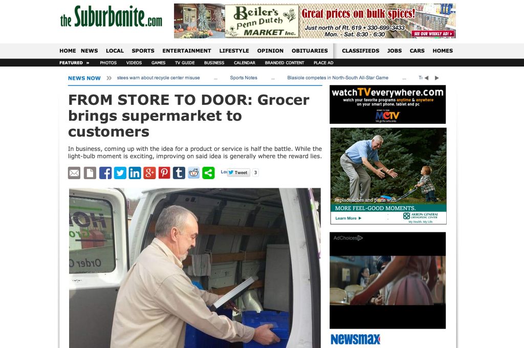 Hometown Grocery Delivery profiled in The Suburbanite