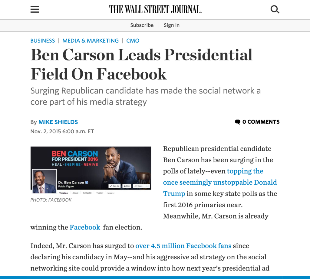 Ken Dawson quoted in article in The Wall Street Journal about Ben Carson Facebook advertising