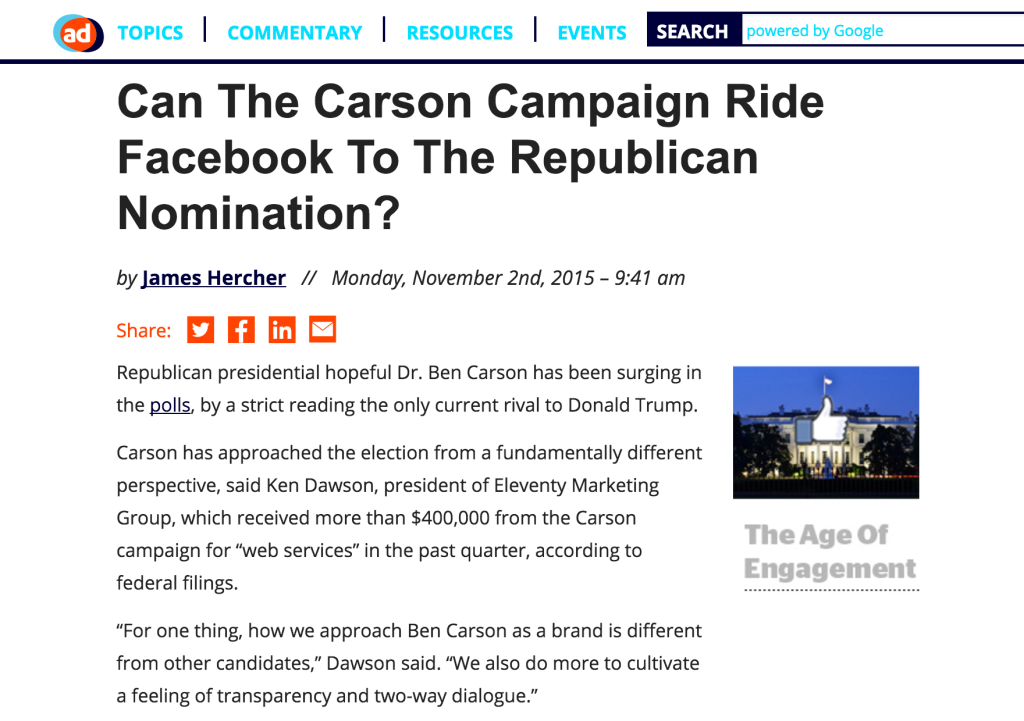 AdExchanger Carson Campaign Facebook article with quotes from Ken Dawson