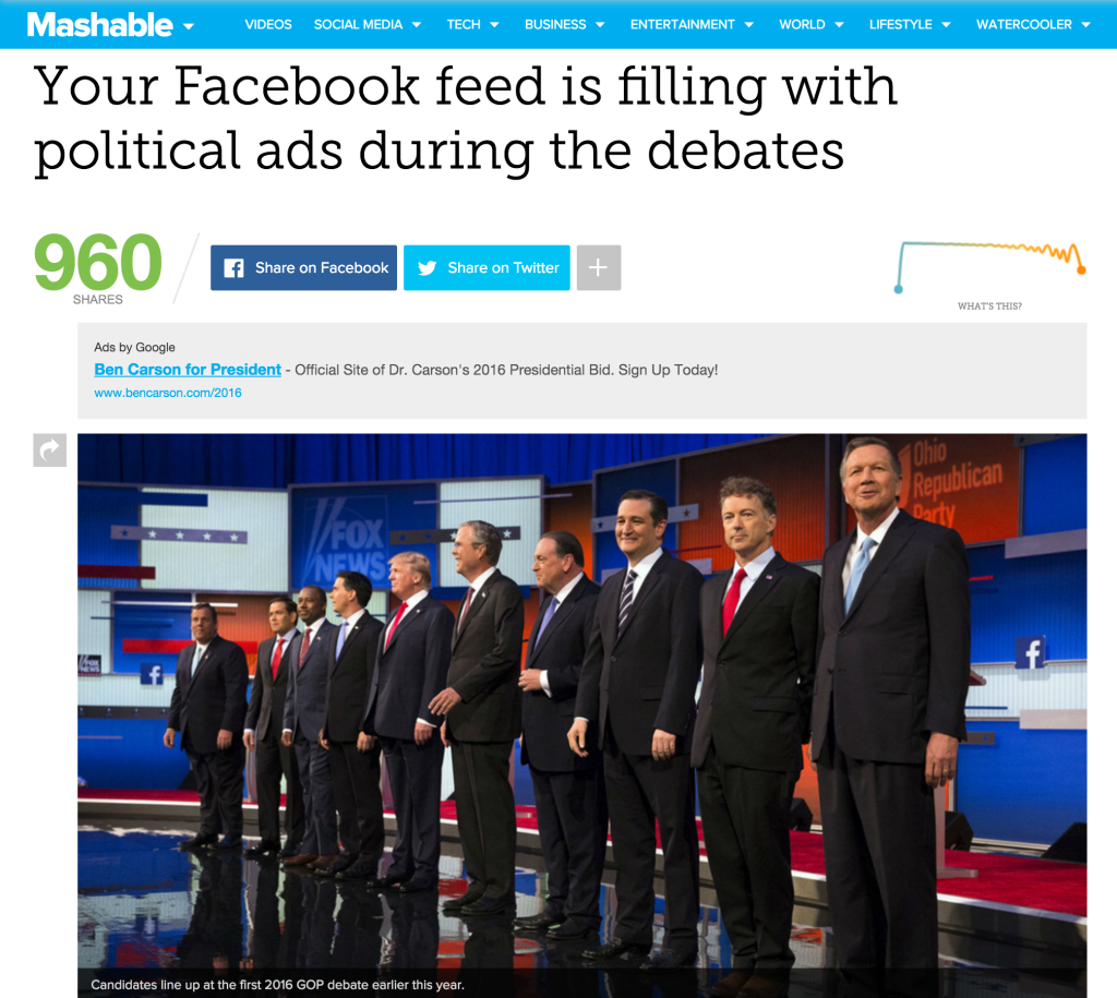 Mashable political Facebook ads article featuring Ken Dawson