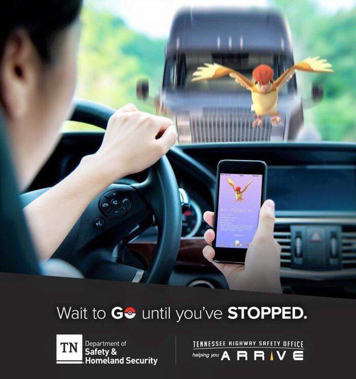 Tennessee Highway Safety Pokemon GO message