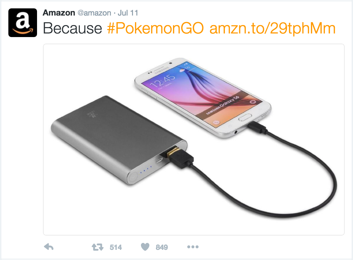Amazon Pokemon GO twitter ad
