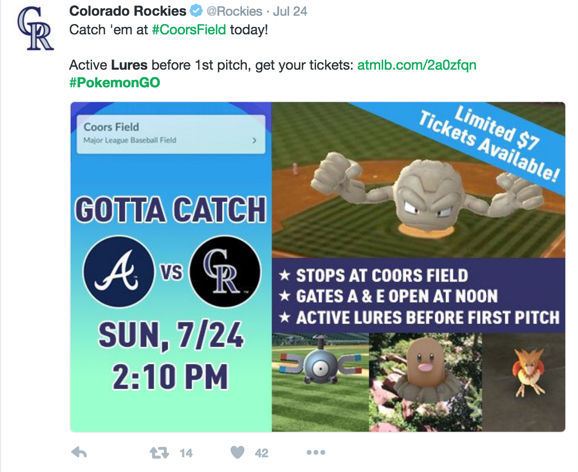Colorado Rockies Pokemon GO twitter promotion