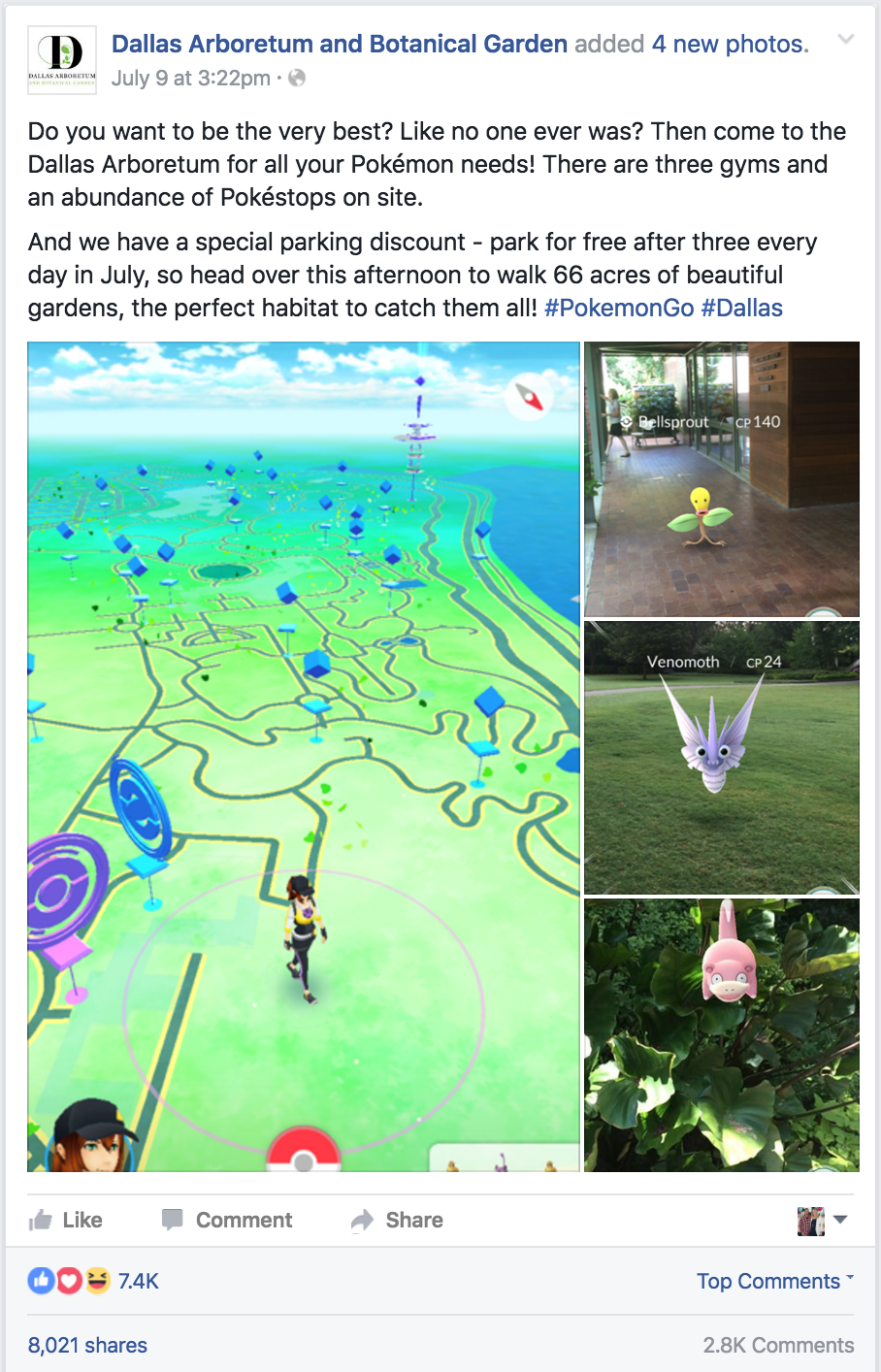 Dallas Botanical Gardens Pokemon GO marketing