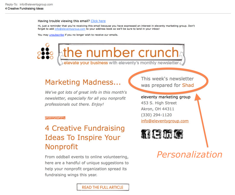 A little bit of personalization in your e-newsletter can make a big difference