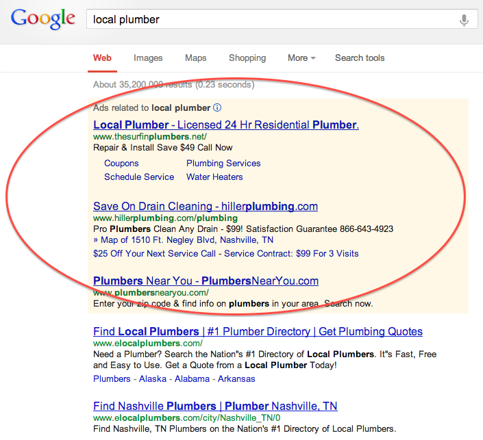 Example of how some paid search results appear on Google