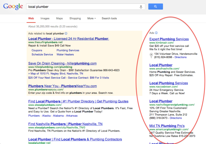 Example of how top paid search results appear on Google