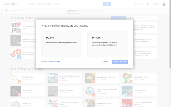 How to create your own Google Plus community
