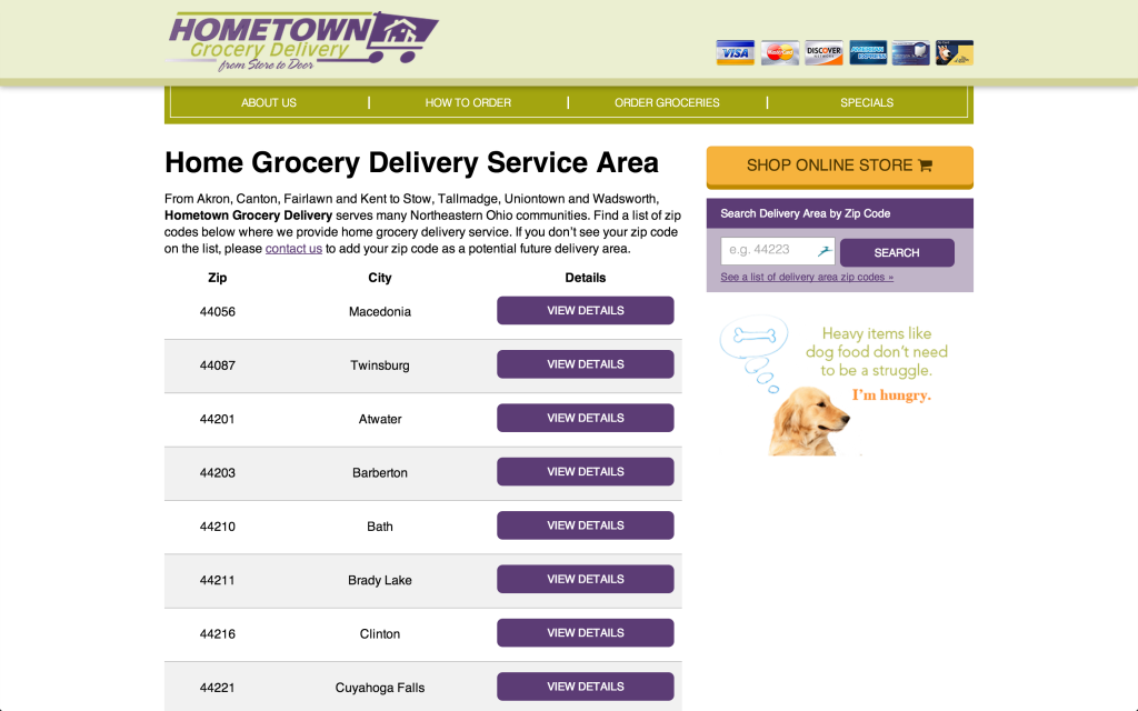 Hometown Grocery Delivery zip code lookup