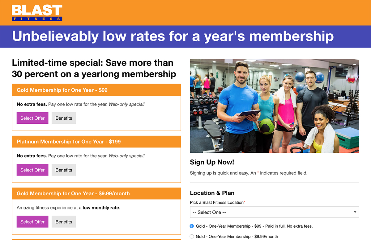 Blast Fitness membership site after
